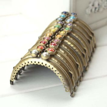 K340 Pure and fresh and lovely water lily bead Coin Purse Frame Handle for Bag Sewing Craft,semicircle antique brass knurling