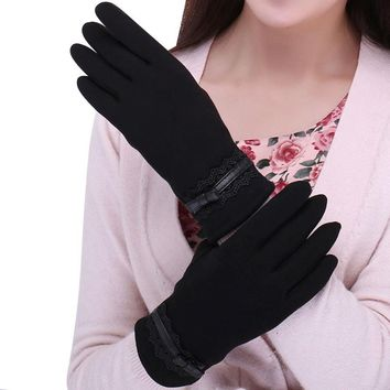 Solid Lace Cotton Gloves