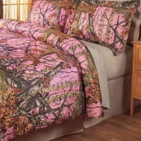 Comforter Set Full Queen Pink Camouflage Shams Camo Cabin Country Lodge NEW