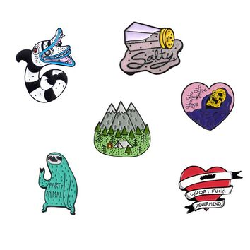 Cartoon Enamel Pin Collection Snake Sloth Mountain Heart Salt shaker Brooch Lapel Pin Buckle Badges Collar Brooches for friends