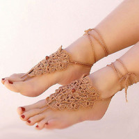 Crochet beige barefoot sandals, barefoot sandels nude shoes, foot jewelry, sexy gipsy feet, victorian lace, steampunk, beach pool