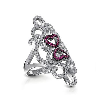 Pink CZ Full Finger Armor Heart Infinity Band Ring 925 Sterling Silver