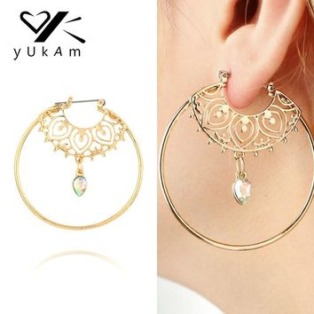 YUKAM Vintage Big Exaggerated Gold Circle Round Creole Hoop Earrings Crystal Waterdrop Earrings for Women Jewelry Accessories