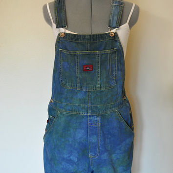"Green Blue Bib OVERALLS  - Dyed Blue Green Old Navy Cotton Denim Overalls Shorts - Womens Size Medium (36"" waist)"