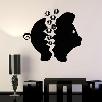 Vinyl Wall Decal Piggy Bank Penny Money Box Stickers Unique Gift (ig3678)