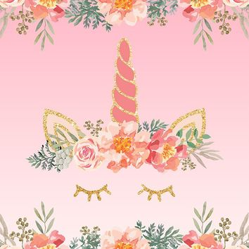 Custom Birthday Backdrop Unicorn Pink Floral Party Background (ANY TEXT) Weddings, Bridal Shower, Baby Shower - C0236