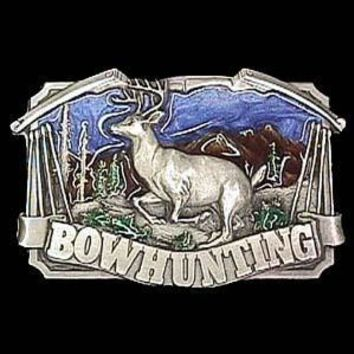 Sports Accessories - Bow hunting with Deer Enameled Belt Buckle
