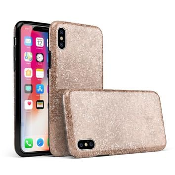 Rose Gold Scratched - iPhone X Swappable Hybrid Case