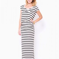 Short Sleeve Striped Maxi Dress - JUST ARRIVED