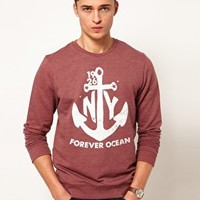 ASOS Sweatshirt With Anchor Print at asos.com