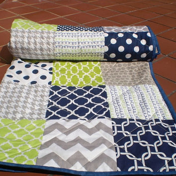 Nautical Baby quilt,navy,grey,lime green,Baby boy bedding,baby boy quilt,Patchwork Crib quilt,chevron blanket,modern,toddler-Lime Rickey