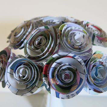 "Color Comic Book Paper Flowers Bunch, Centerpiece Dozen 1.5"" Roses on Stems, recycled newspaper comic book cartoon bridal shower decoration party decor"