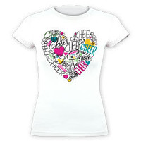 Multi Cheer Shaped Heart with Hearts Fitted Jersey T-Shirt