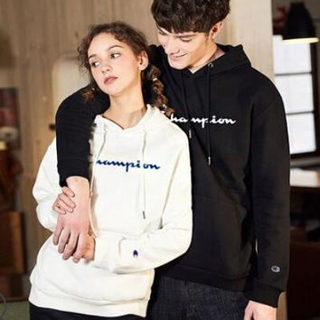 Champion Fashionable Couple Leisure Hooded Velvet Sweater Top Sweatshirt