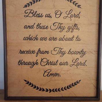 Catholic blessing sign, Bless us O' Lord, and these Thy gifts prayer sign, Rustic kitchen sign, Religious sign, Housewarming, Wedding gift