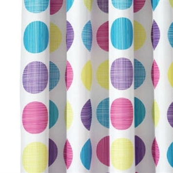 Retro Polka Dots White Yellow Purple Blue Pink Fabric Shower Cur