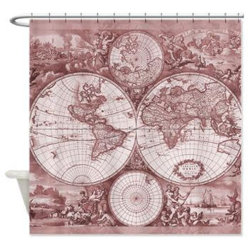 Antique Rose Chic Map Shower Curtain -  Vintage map -Home Decor - Bathroom - maps