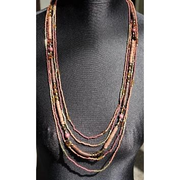 KurtMen Multi-Strand Brown and Gold Beaded Necklace