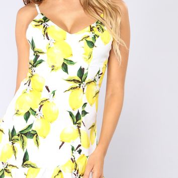 Sweeter Than Lemons Mini Dress - Ivory