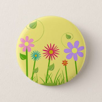 Colorful Flowers Patch Standard Round Button