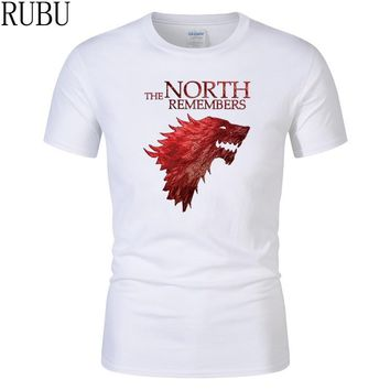 RUBU Tshirt Homme Game of Thrones T Shirt Men Cool The North Remembers Blood Wolf T-shirt Men's Tee Shirts Camisetas Hombre