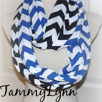 NEW!! Royal Blue and Black LONG Chevron 2 Pair CAROLINA Panthers Team Game Day  Scarves Jersey Knit Infinity Scarves