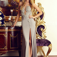 G2037 Jeweled Sheer Illusion Jersey Prom Dress Evening Gown