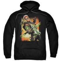 JLA/GREEN ARROW #1-ADULT PULL-OVER HOODIE-BLACK