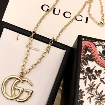 Free shipping-GUCCI tide brand female models wild double G logo thick chain long chain
