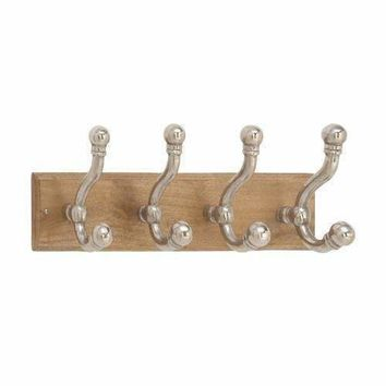 Wood Wall Hook With 4 Looped Hook