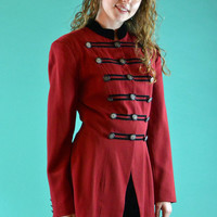 Vintage 90s Military Jacket Blazer / Red Wool Velvet Trims Karen Kane Band Jacket / Vintage Crested Button Jacket M / L
