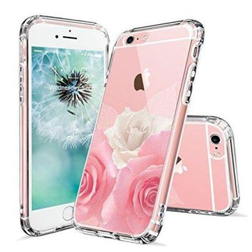 DCCKV2S iPhone 6s Case, iPhone 6 Case for Girls, MOSNOVO Floral Roses Printed Flower Clear Design Transparent Plastic Hard Back Case with TPU Bumper Gel Protective Case Cover for Apple iPhone 6 6s (4.7 Inch)