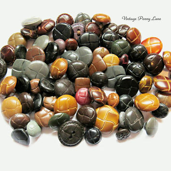 78 Mixed Vintage Faux Leather Buttons