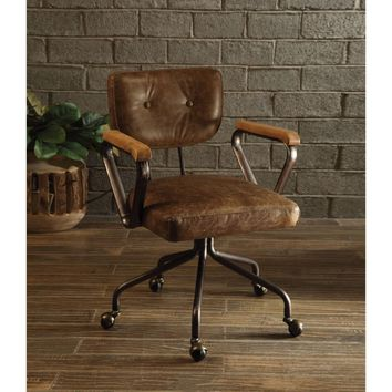 Metal & Leather Executive Office Chair, Brown-ACME