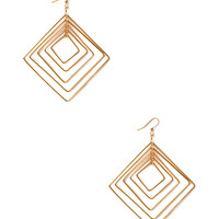 FOREVER 21 Dimensional Square Earrings Gold One