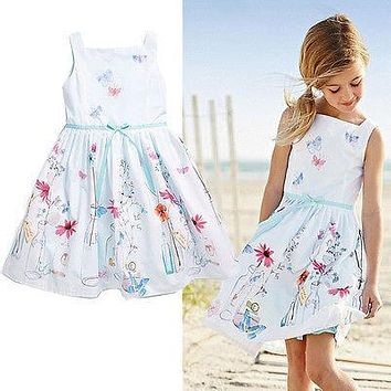 Hot Baby Kids Girls floral print summer dress costume Fashion casual Princess Gown Dresses children's clothes