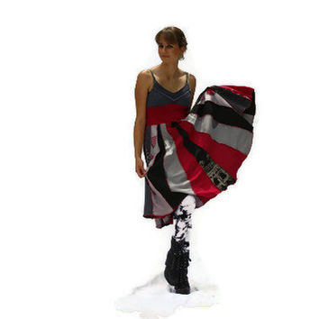 Recycled, Upcycled T-shirt Dress, Sundress, Red, Black and Gray