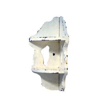 Small Shabby Chic White Corner Shelf, Two Tier Corner Wall Shelves