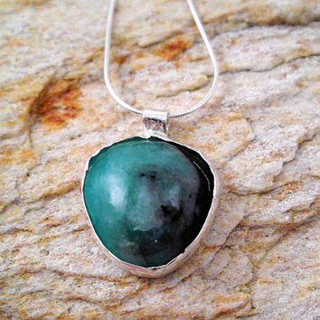 Organic Raw Emerald in Matrix Necklace, Emerald Jewelry, May Birthstone