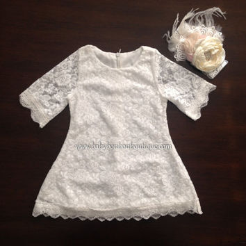 white flower girl dress, baby girl dress, baby white lace dress, baby lace dress