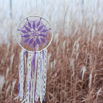 Dream Catcher, Bohemian Wedding, Boho Decor, Boho Dreamcatcher, Doily Lace Dream Catcher, Nursery Decor, Boho Gift , Violet Lavender Gift