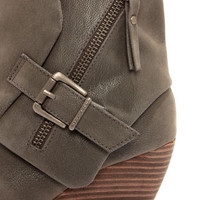 Blowfish Bilocate Grey Fawn Belted Wedge Boots