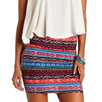 ABSTRACT AZTEC PRINT BODYCON MINI SKIRT