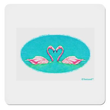 "Love Birds - Flamingos Watercolor 4x4"" Square Sticker"