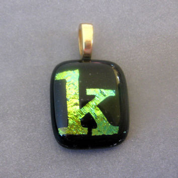 Letter K - Initial Pendant, Yellow, Gold, Black Jewelry by mysassyglass