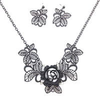 Black Metal Flower Leaf Necklace&Earrings  Set,Statement Women Jewelry,Vintage Chic Gift Necklace,for Her,Wedding Bridesmaid Gift Idea
