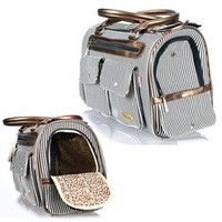 Fashion Pet Tote Piggy Bag Puppy Doggie Dog Cat Carrier Travel Handbag Stripe (Color: Black) [7687067014]