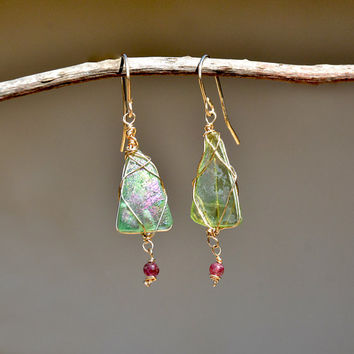 Roman Glass Earrings Green Iridescent Ancient Roman Glass Earrings Gold Filled Earring+ Tourmaline Israeli Roman Glass Jewelry Free Shipping