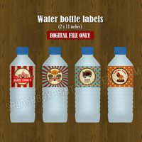 Circus Water Bottle Labels- Vintage Circus Printable Water Bottle Labels for Birthday or Baby Shower