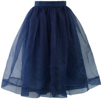 Blue Organza Midi Skirt Blue